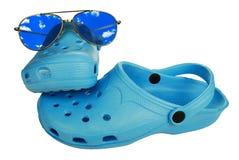 Sandali blu della spiaggia fotografia stock