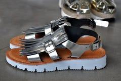 Sandali d'argento Immagine Stock