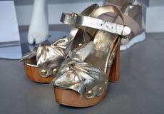 Sandali d'argento del tacco alto Immagini Stock