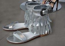 Sandali d'argento di estate Immagini Stock Libere da Diritti