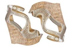 Sandali della piattaforma del sughero Immagine Stock