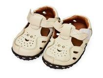 Sandali di cuoio dei bambini bianchi Immagini Stock