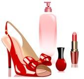 Sandali e cosmetici Fotografie Stock