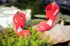Sandali italiani, scarpe con la zeppa Fotografia Stock Libera da Diritti