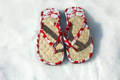 Sandali nella neve immagine stock