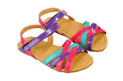 Sandali per i bambini - children& x27 di estate; scarpe di s Neonata variopinta s Fotografie Stock