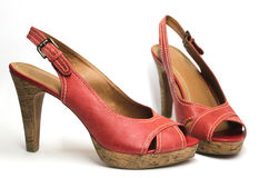 Sandali rossi del tacco alto Fotografia Stock Libera da Diritti