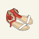 ` Sandali rossi e bianchi di s delle donne Fotografie Stock