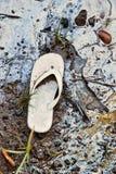 Sandalia abandonada en una playa tóxica Imágenes de archivo libres de regalías