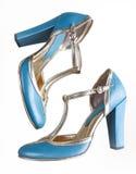 Sandalias azules con los altos talones Imagen de archivo