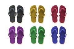 Sandalias coloreadas de la colección imágenes de archivo libres de regalías