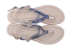 Sandalias de cuero azules fotografía de archivo