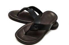 Sandalias de cuero negras Imagenes de archivo