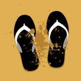 Sandalias de la playa en la arena ilustración del vector