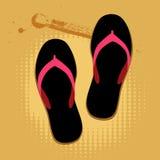 Sandalias de la playa en la arena stock de ilustración