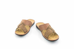Sandalias de los hombres o zapatos de cuero marrones de la chancleta Foto de archivo