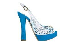 Sandalias de tacón alto azules imagen de archivo libre de regalías