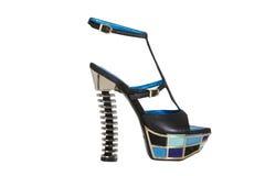 Sandalias de tacón alto azules fotos de archivo