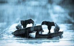 Sandalias en la lluvia Foto de archivo libre de regalías