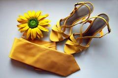 Sandalias, lazo y flor amarillos para casarse en el fondo blanco Foto de archivo libre de regalías