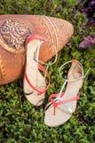 Sandalias, los zapatos elegantes de las mujeres en naturaleza Imagen de archivo