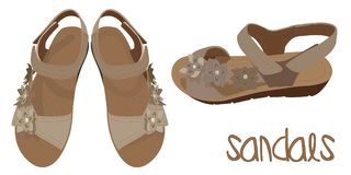 Sandalias marrones claras del vector, mirada de moda Fotos de archivo libres de regalías
