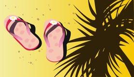 Sandalias rosadas de la playa en la arena Imagenes de archivo