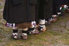 Sandalias rumanas tradicionales Foto de archivo libre de regalías