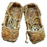 Sandalias tejidas de la estopa Imagen de archivo libre de regalías