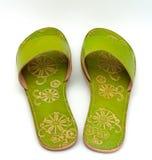 Sandalias verdes de la señora Imagen de archivo libre de regalías