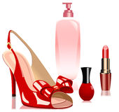 Sandalias y cosméticos Fotos de archivo
