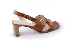 Sandalo del Brown con il tallone Fotografie Stock Libere da Diritti