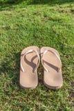 Sandalo su erba verde Fotografia Stock