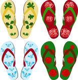Sandals. Set of beach sandals. Vector illustration Royalty Free Stock Photography
