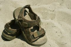 Sandals. On beach Stock Photography