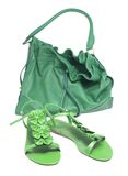 Sandals And Green Bags Royalty Free Stock Photo
