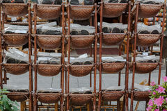 Sandals in baskets Royalty Free Stock Image