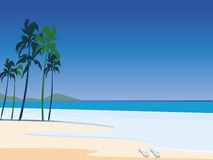 Sandals on the beach. Beautiful blue beach with palms mountains and sandals over sand vector illustration