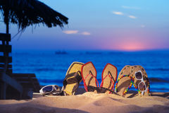 Sandals on the beach Stock Photography