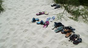 Sandals on the Beach on Bald Head Island, North Carolina, usA Stock Photography