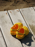 Sandals on the boardwalk Stock Photography