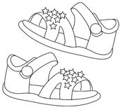 Sandals coloring page. Useful as coloring book for kids Stock Photos