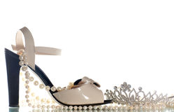 Sandals and diadem on a white Stock Image