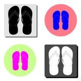 sandals in för misslyckandear för bakgrundsstrandflip isolerade ställde illustrationen vektorn vit Plan vektorsymbol royaltyfri illustrationer