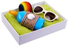 sandals för sand för omslag för påsestrand inställda uppblåsbara Royaltyfria Foton