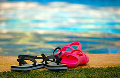 Sandals and flip flops Royalty Free Stock Photos