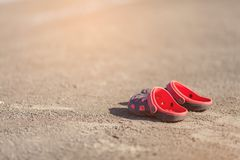 Sandals, flip-flops. On the beach Stock Photo
