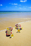 Sandals and flowers on a Hawaii beach Royalty Free Stock Photos