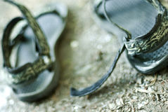 Sandals on the ground. Stock Photos