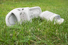 Sandals on the lawn Stock Photo